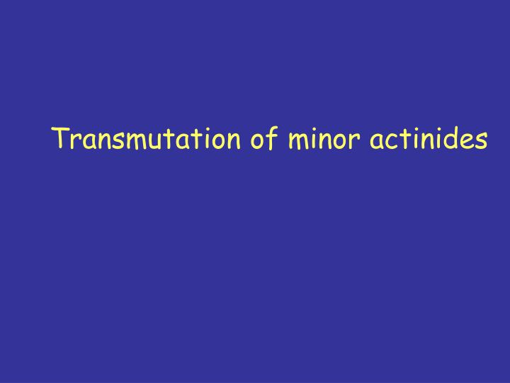 Transmutation of minor actinides