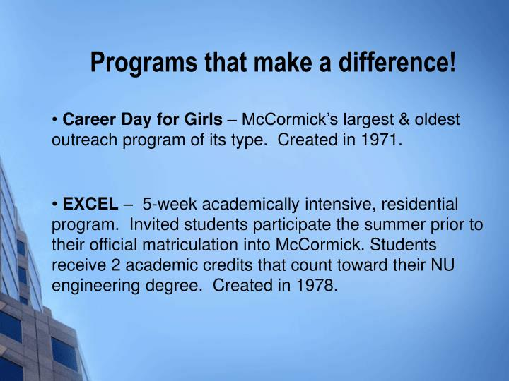 Programs that make a difference!