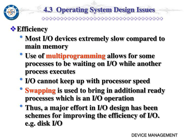 4.3  Operating System Design Issues