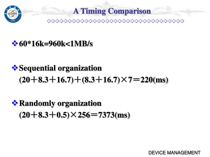 A Timing Comparison
