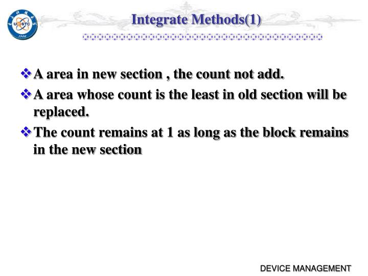 Integrate Methods(1)