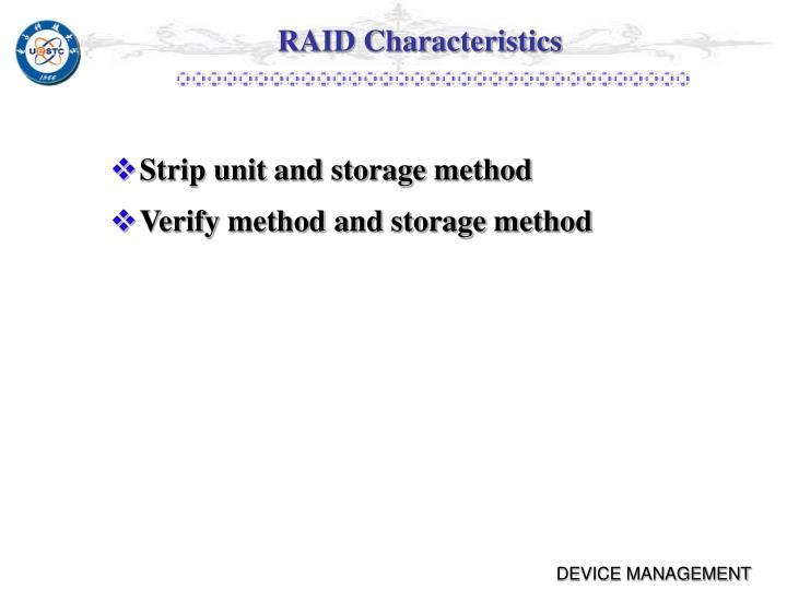 RAID Characteristics