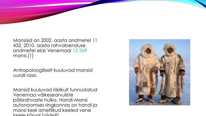 Mansisid on 2002. aasta andmetel 11 432. 2010. aasta rahvaloenduse andmetel elas Venemaal