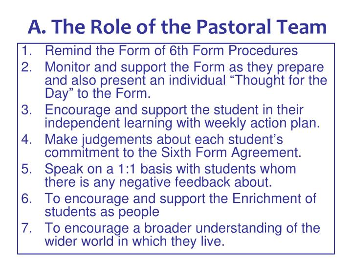 A. The Role of the Pastoral Team