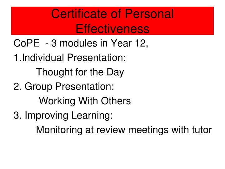 Certificate of Personal Effectiveness