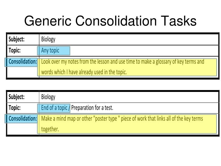Generic Consolidation Tasks