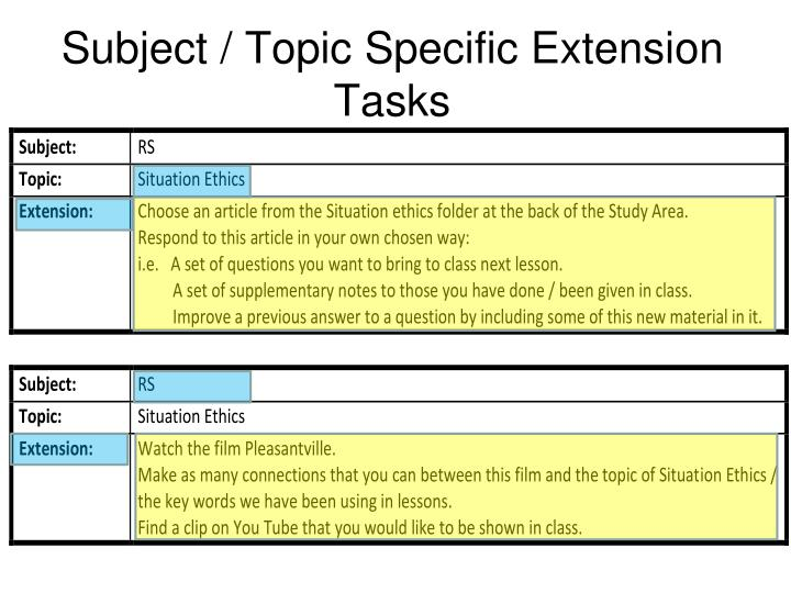 Subject / Topic Specific Extension Tasks