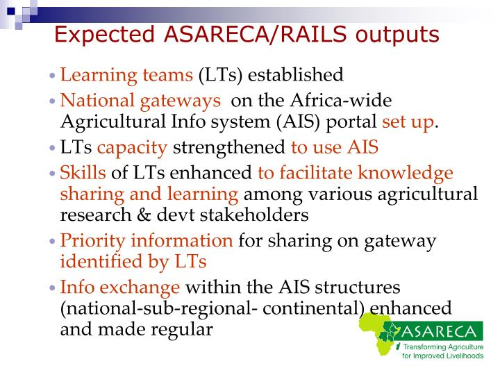 Expected ASARECA/RAILS outputs