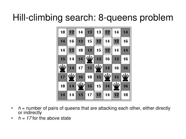Hill-climbing search: 8-queens problem
