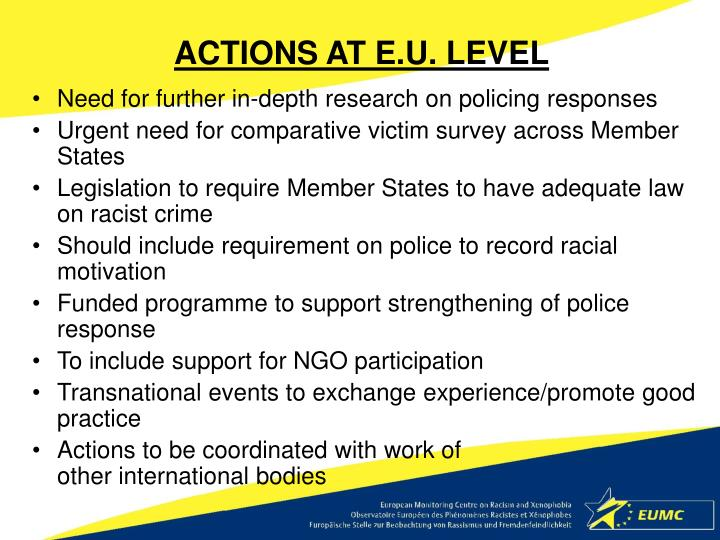 ACTIONS AT E.U. LEVEL