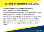 actions at member state level