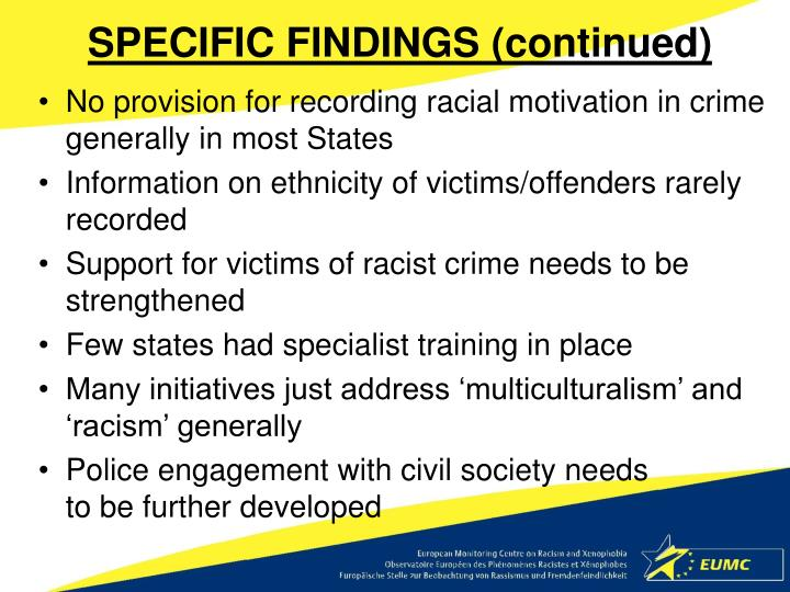 SPECIFIC FINDINGS (continued)