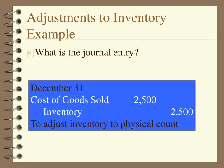 Adjustments to Inventory Example
