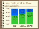 gross profit on 1 for three merchandisers