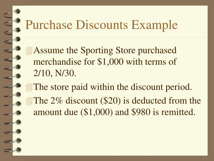 Purchase Discounts Example