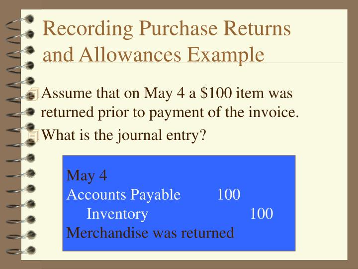 Recording Purchase Returns