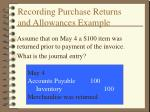 recording purchase returns and allowances example