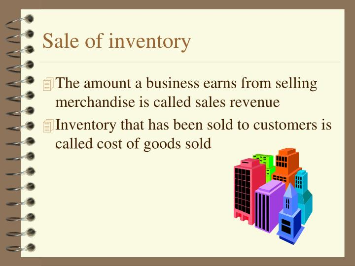 Sale of inventory