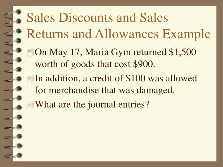 Sales Discounts and Sales Returns and Allowances Example