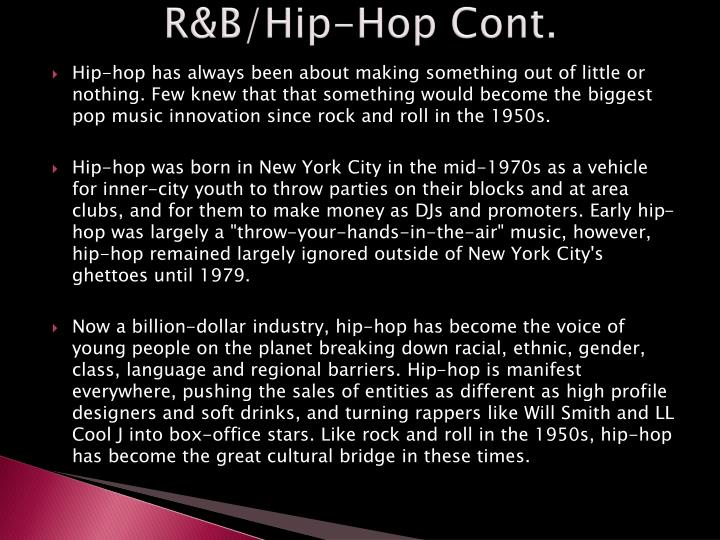 R&B/Hip-Hop Cont.