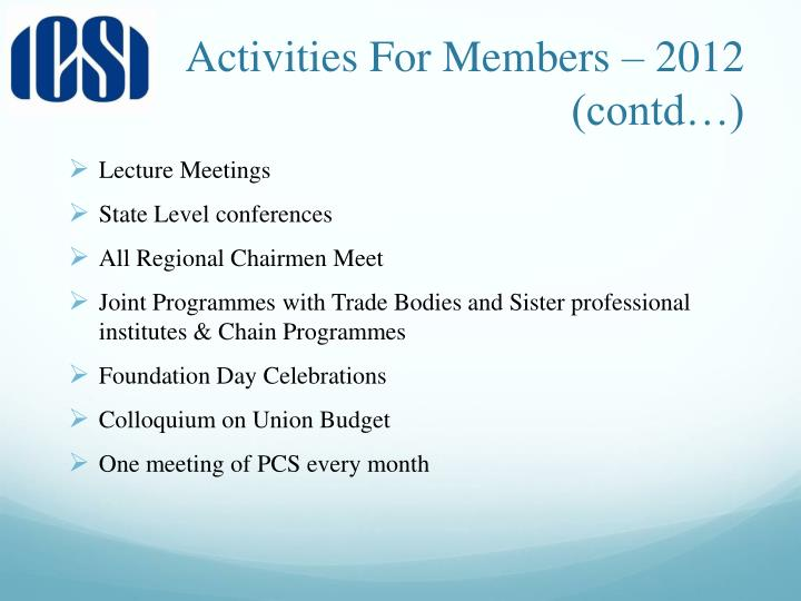 Activities For Members – 2012