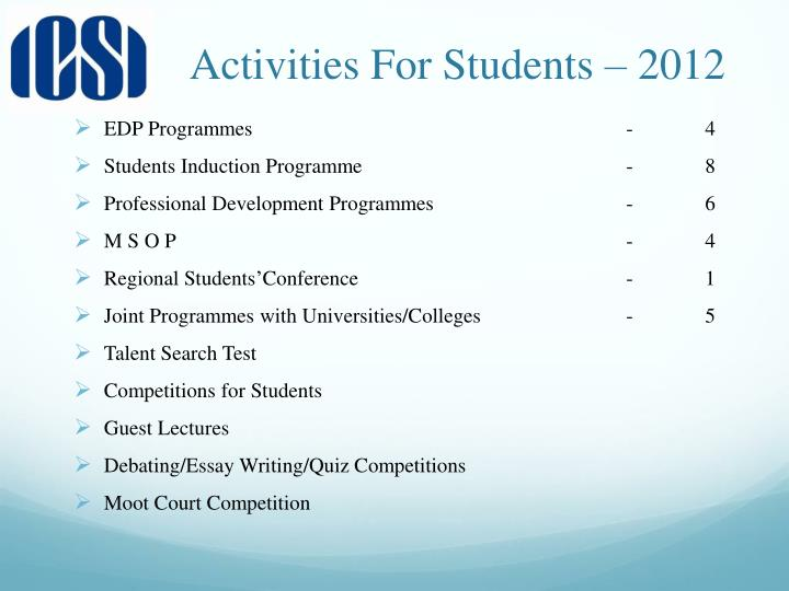 Activities For Students – 2012