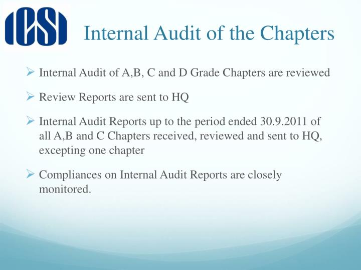 Internal Audit of the Chapters