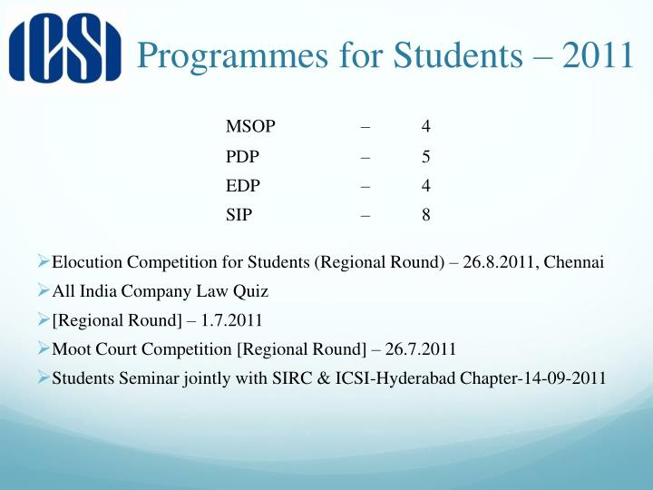 Programmes for Students – 2011