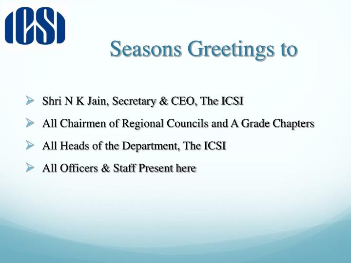 Seasons greetings to