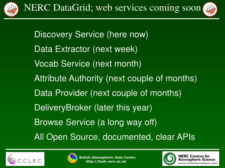 NERC DataGrid; web services coming soon