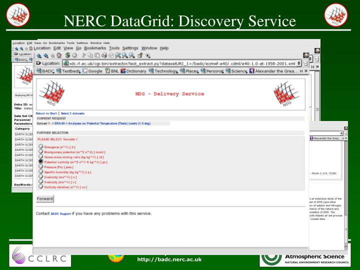 NERC DataGrid: Discovery Service