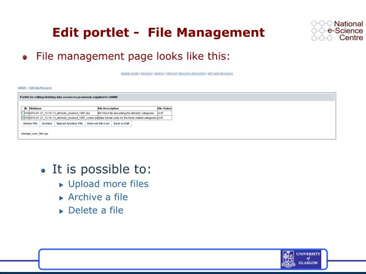 Edit portlet -  File Management