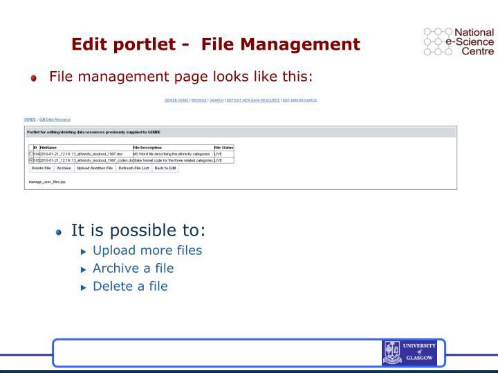Edit portlet -  File Management