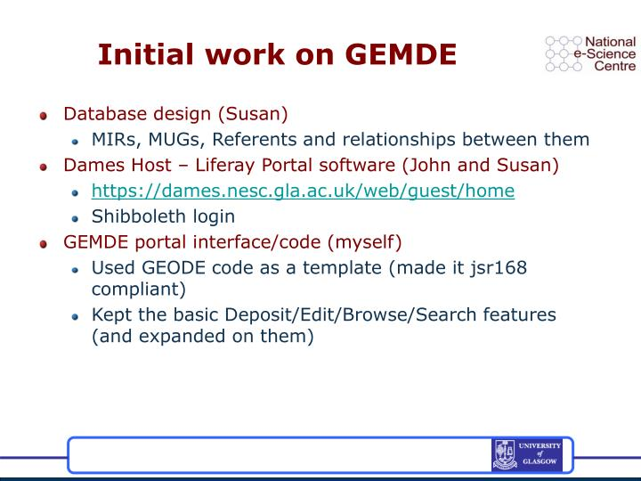Initial work on GEMDE