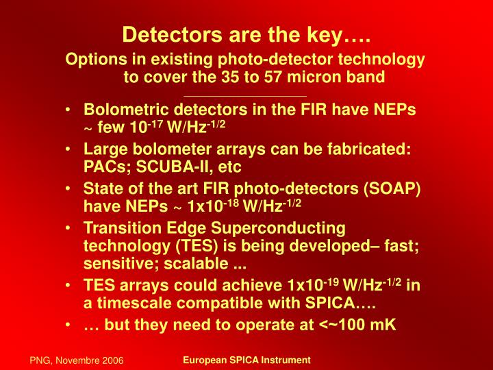 Detectors are the key….