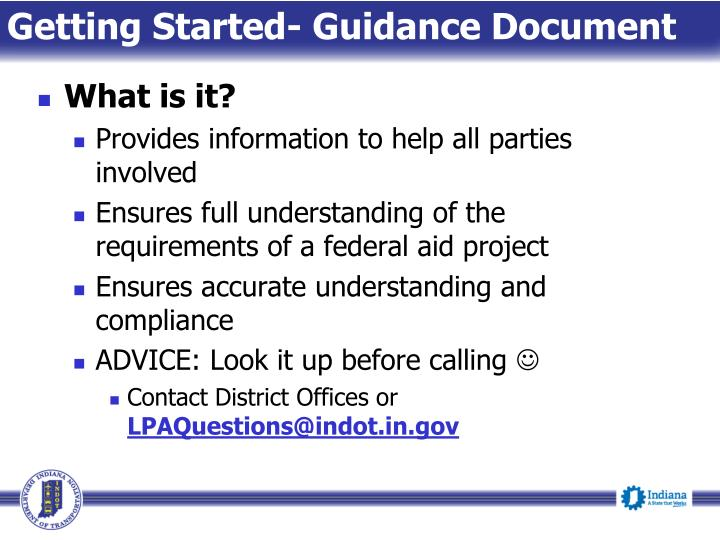 Getting Started- Guidance Document