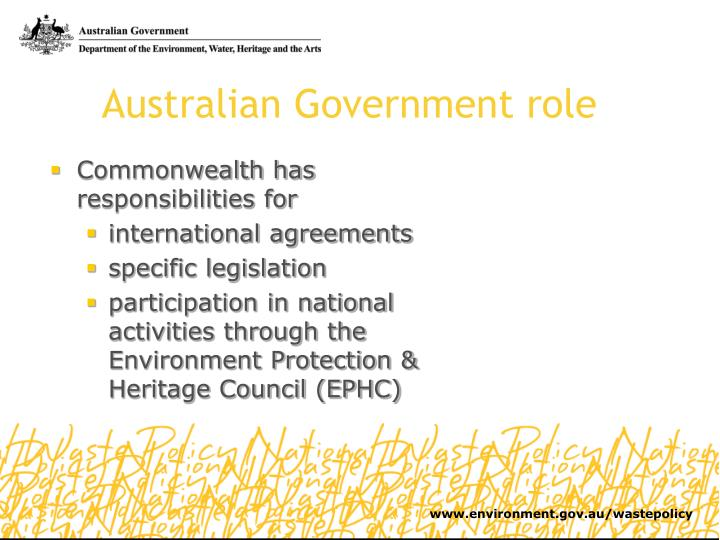 Australian Government role