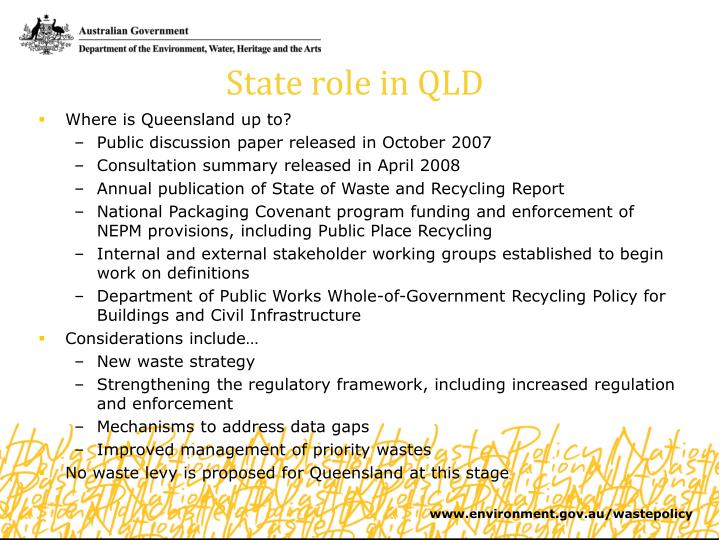 State role in QLD