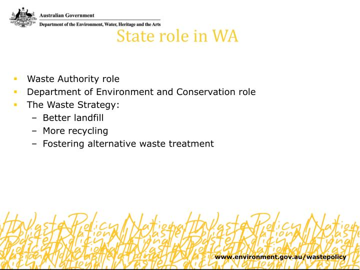 State role in WA