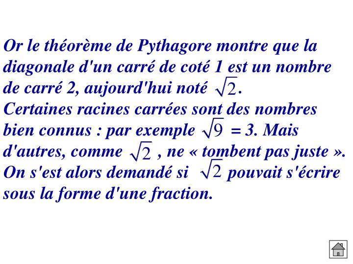 Or le théorème de Pythagore montre que la diagonale d'un carré de coté 1 est un nombre de carré 2, aujourd'hui noté       .