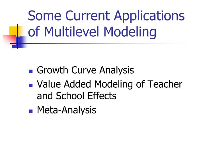 Some Current Applications of Multilevel Modeling
