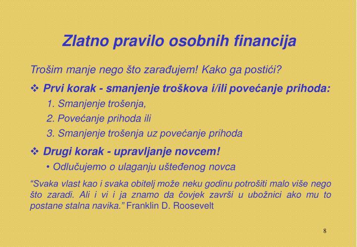 Zlatno pravilo osobnih financija
