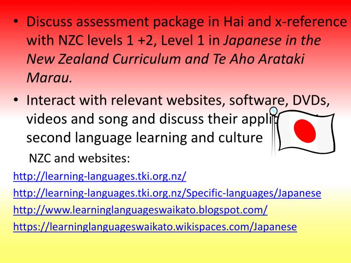 Discuss assessment package in Hai and x-reference with NZC levels 1 +2, Level 1 in