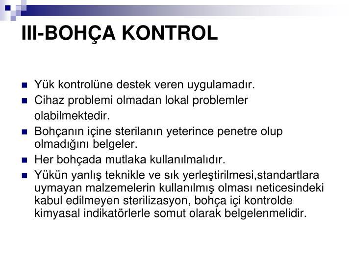 III-BOHA KONTROL