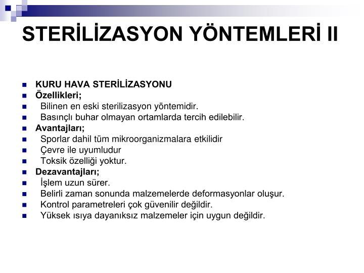 STERLZASYON YNTEMLER II
