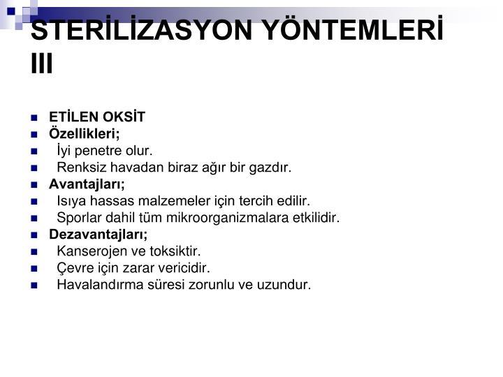STERLZASYON YNTEMLER III