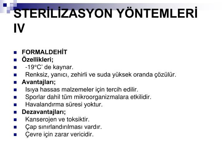 STERLZASYON YNTEMLER IV