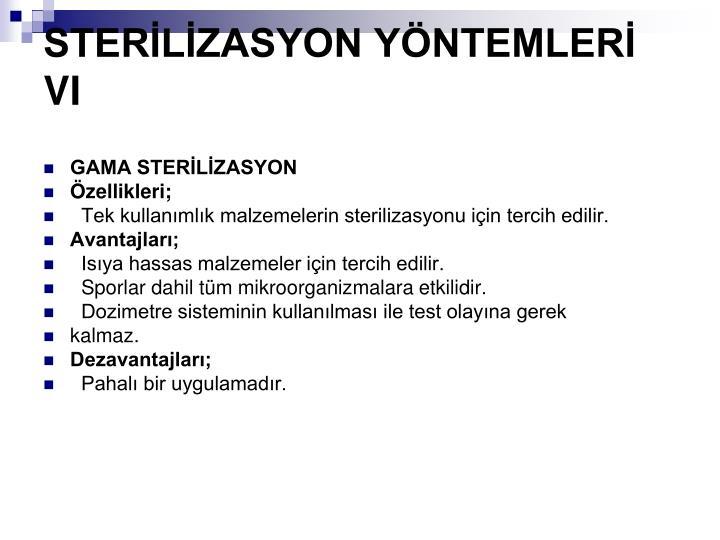 STERLZASYON YNTEMLER VI