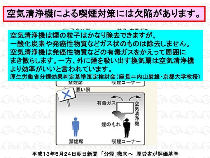 空気清浄機による喫煙対策には欠陥があります。