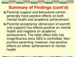 summary of findings cont d